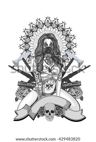 Vector illustration of a beautiful woman. Chicano tattoo style. - stock vector