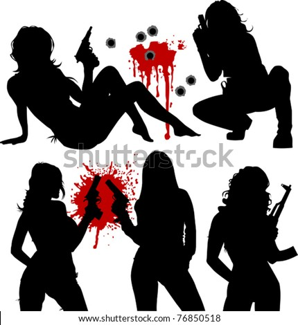 vector illustration of a beautiful woman holding a gun; - stock vector
