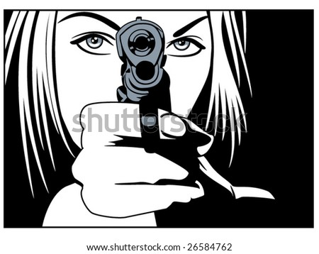 vector illustration of a beautiful woman holding a pistol - stock vector