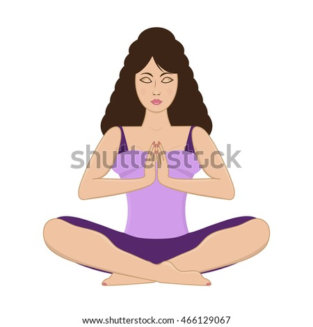 Vector illustration of a beautiful young woman practicing yoga, meditating in yoga pose isolated on white background.