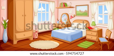 Vector Illustration Of A Bedroom Interior With A Bed, Nightstand, Wardrobe  And Windows.