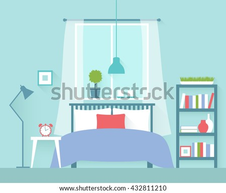 a bedroom. Vector illustration of a bedroom with window  Flat design Bedroom Stock Images Royalty Free Vectors Shutterstock