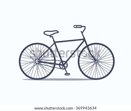 Vector illustration of a bicycle made in flat style. Vector bike icon. - stock vector