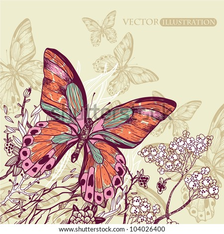 vector illustration of a big colorful butterfly with blooming flowers - stock vector
