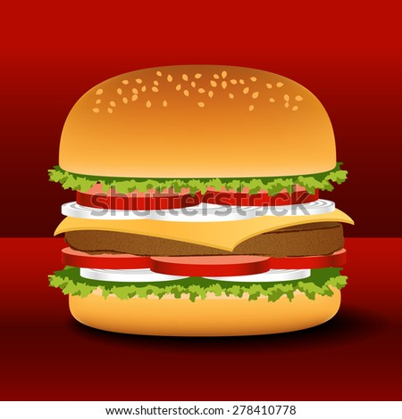Vector illustration of a big tasty hamburger or cheeseburger with a large cutlet, tomatoes, onions, lettuce, a slice of cheese, ketchup, mayonnaise, mustard and bun with poppy seeds - stock vector