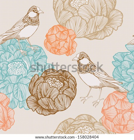 Vector illustration of a bird and blooming flowers. Seamless pattern. - stock vector
