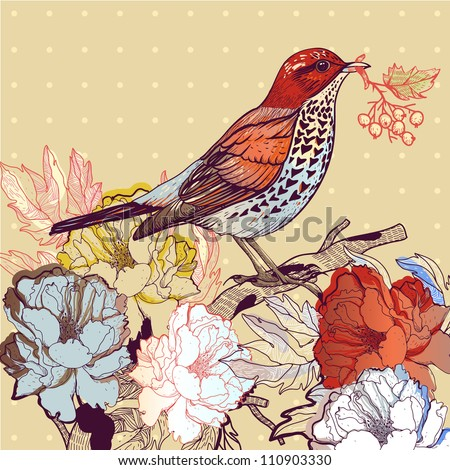 vector illustration of a bird and blooming roses