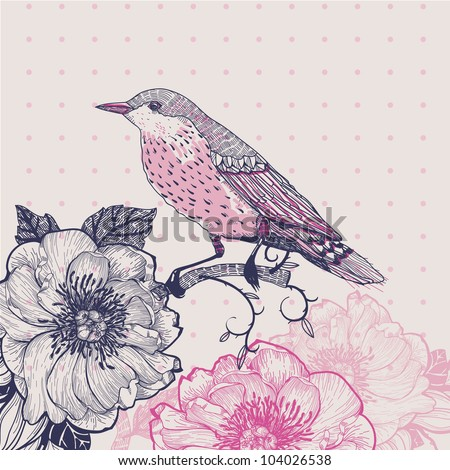 vector illustration of a bird and flowers in a vintage style - stock vector