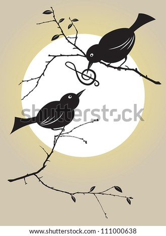 vector illustration of a bird couple feeding each other with a musical ...