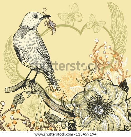 vector  illustration of a bird, forest plants  and a  wild rose - stock vector