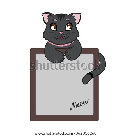 Vector illustration of a black cat with a tablet for text. Isolated on white background - stock vector