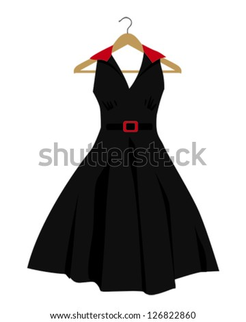 Vector illustration of a black dress