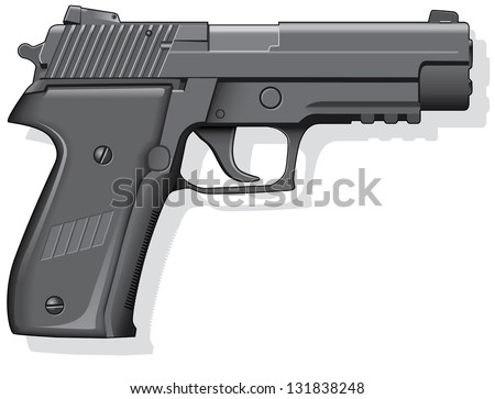 Vector illustration of a black handheld semi-automatic pistol - stock vector