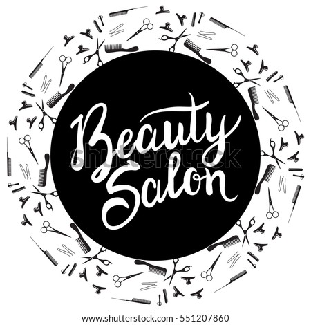 Vector illustration of a black round frame for a beauty salon