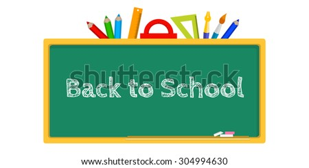 vector illustration of a blackboard, stationery Back to School - stock vector