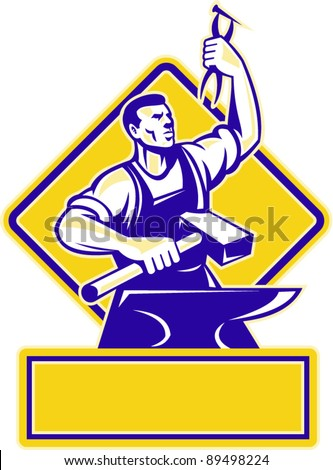 vector Illustration of a blacksmith holding a hammer and raising up pliers with anvil in front and diamond in background done in retro style.