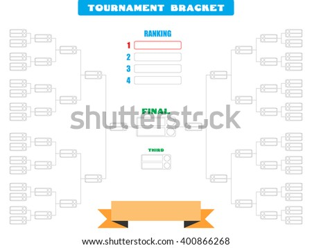 Vector illustration of a blank tournament bracket for 32 teams - Eps10 Vector graphics and illustration - stock vector