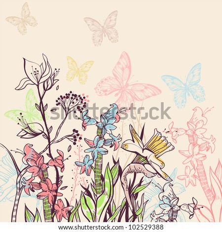 vector illustration of a blooming field with colorful flowers and butterflies - stock vector