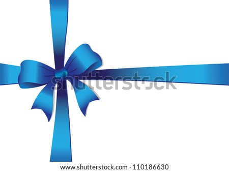 Vector illustration of a Blue bow isolated on white.