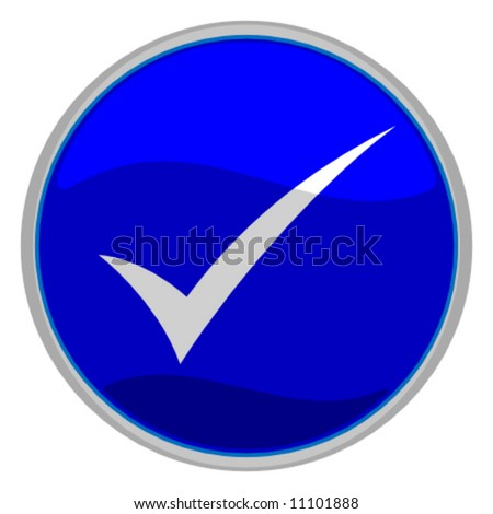 vector illustration of a blue check mark button