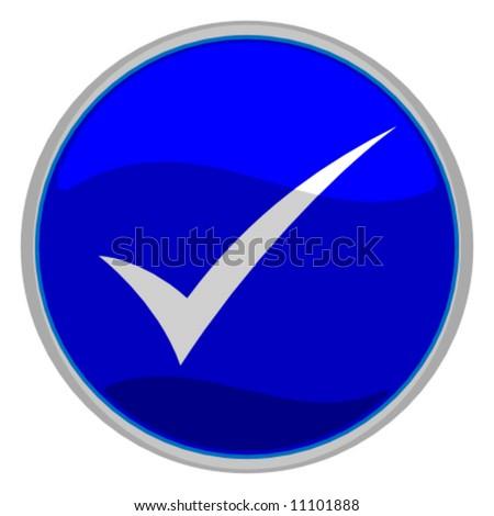 vector illustration of a blue check mark button - stock vector