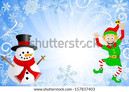 vector illustration of a blue christmas background with a snowman and an elf