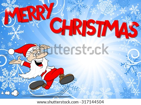 vector illustration of a blue christmas background with Santa Claus