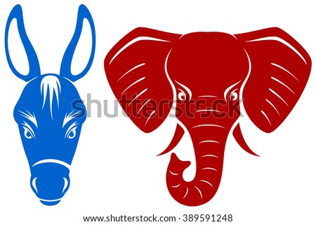 Vector illustration of a blue donkey and a red elephant, representing the Democratic and Republican parties of the United States. - stock vector