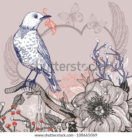 vector illustration of a blue forest bird and blooming wild rose