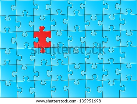 vector illustration of a blue jigsaw puzzle - stock vector