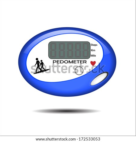 Vector Illustration of a Blue Pedometer
