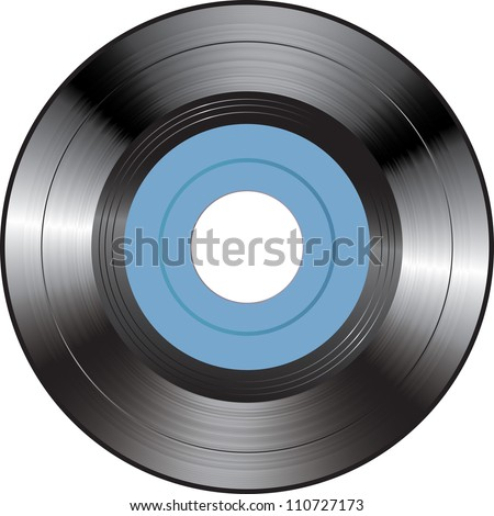 Vector illustration of a blue vinyl