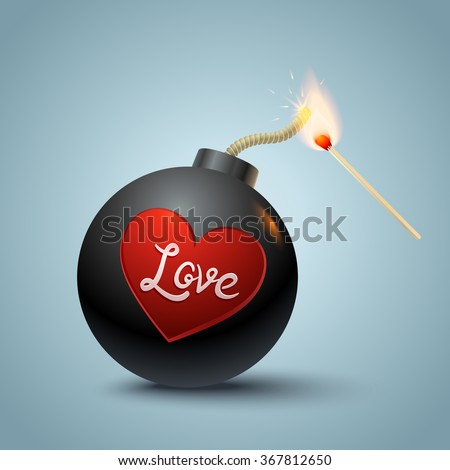 Vector illustration of a bomb with heart and match in fire - stock vector