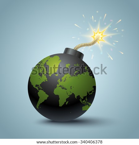 Vector illustration of a bomb with World map. - stock vector