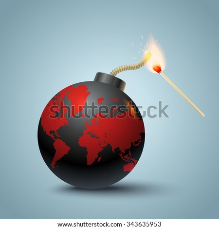 Vector illustration of a bomb with World map and match in fire