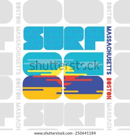 vector illustration of a Boston surfing design for t-shirts,vintage design - stock vector