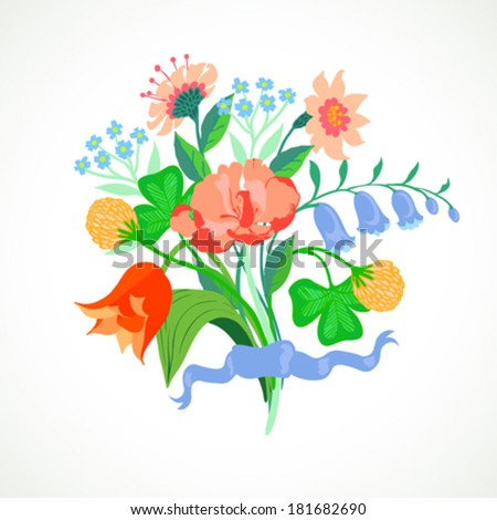 Vector illustration of a bouquet of spring and summer flowers: tulips, peony, blue bells, clover and forget-me-nots tie is made in modern flat style and is perfect for a wedding invitation - stock vector
