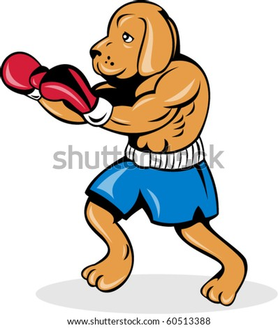 vector illustration of a boxer dog with gloves