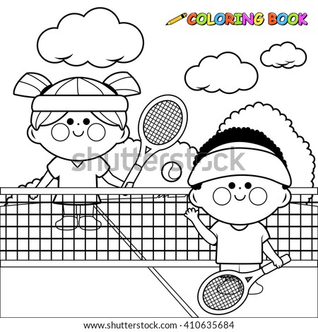 Vector illustration of a boy and a girl playing tennis. Coloring book page - stock vector