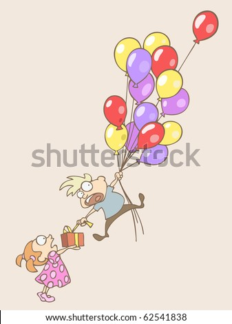 Vector illustration of a boy flying away on the balloons an trying to get his present at the same time - stock vector