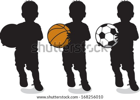 Vector illustration of a boy holding a basketball and soccer ball.