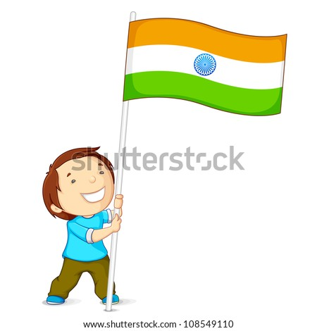 vector illustration of a boy holding Indian flag - stock vector