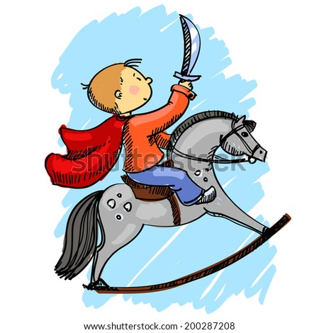 vector illustration of a boy on a horse isolated