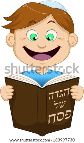 "Vector illustration of a boy reading from Haggadah of Passover. The title on the front cover says ""Haggadah of Passover"".  - stock vector"