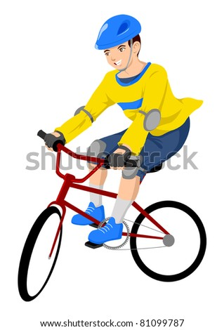 Vector illustration of a boy riding a bicycle - stock vector