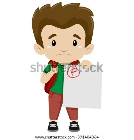 Vector Illustration of a Boy showing his Failed Exam - stock vector