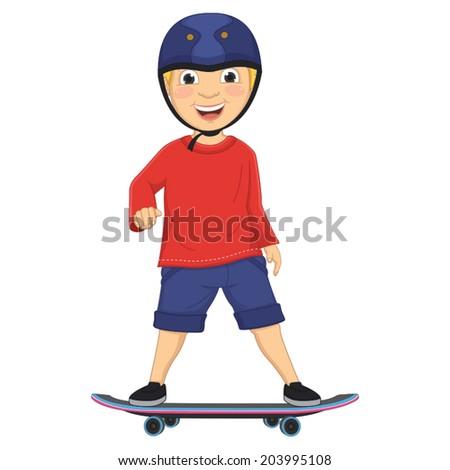 Vector Illustration Of A Boy Skating - stock vector