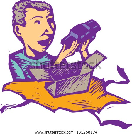 Vector illustration of a boy unwrapping a present