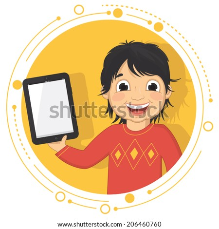 Vector Illustration Of A Boy With A Tablet - stock vector