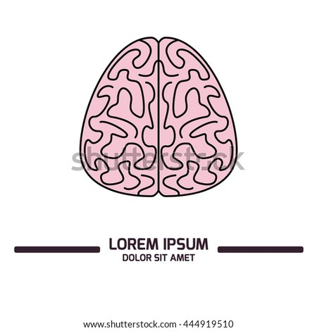 Vector illustration of a brain. Linear and minimalistic style, bright flat colors. Isolated on white background. With copy space, perfect for presentation or poster. - stock vector